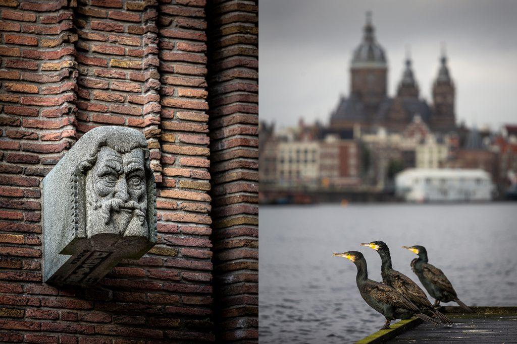 Amsterdamse School-architectuur, aalscholvers en de Nicolaas-kerk in Amsterdam-Centrum