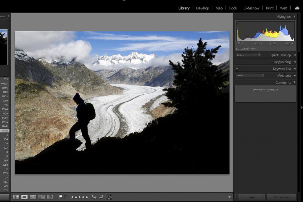 De ontwikkelmodule van fotobewerkingsprogramma Adobe Lightroom