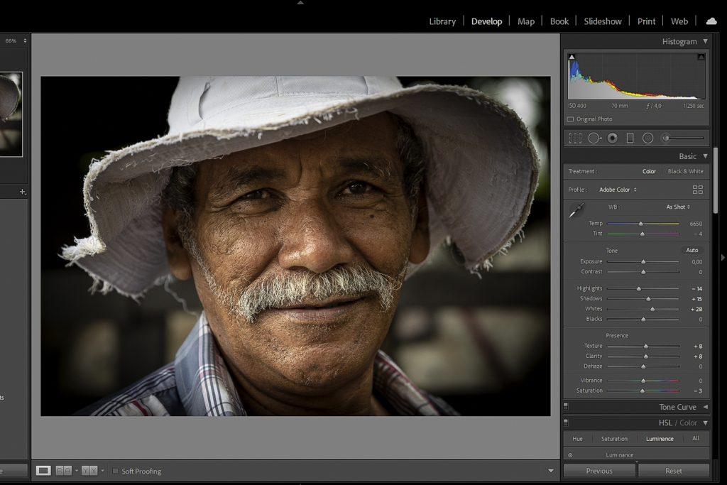 De ontwikkelmodule in Adobe Lightroom