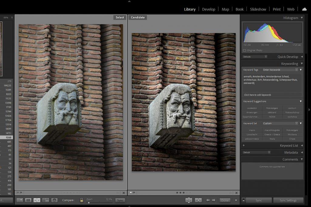 Foto in Adobe Lightroom voor en na bewerking
