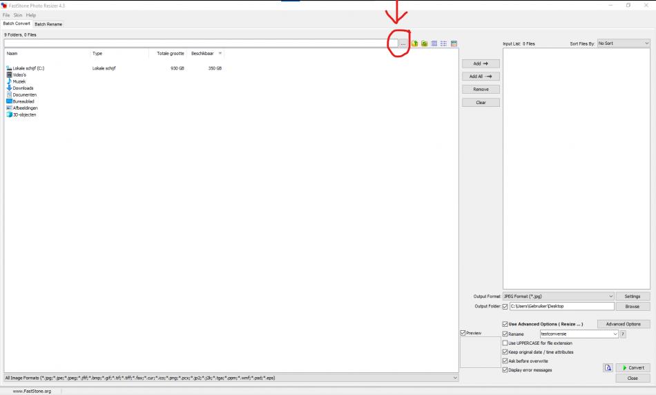 met de select source folder knop kun je naar de juiste map navigeren als je een foto wil verkleinen met Photo Resizer