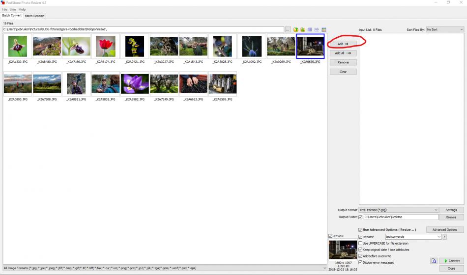 de ADD-knop in Photo Resizer gebruiken om een foto klaar te zetten