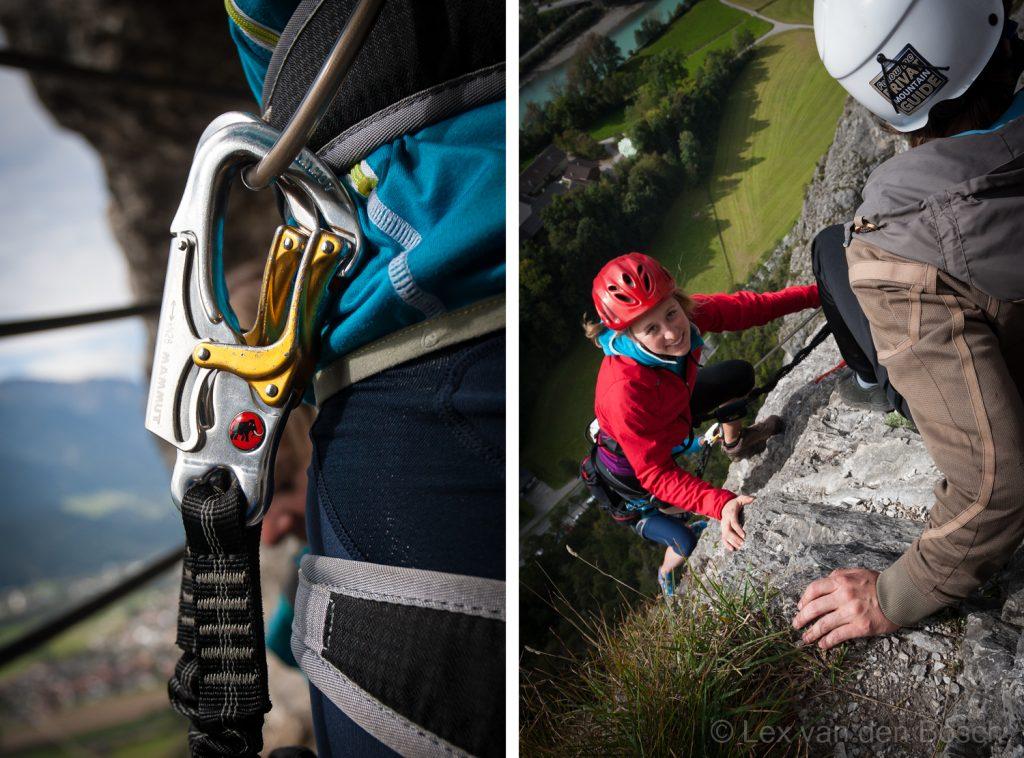 Detail en overzicht bij een klettersteig